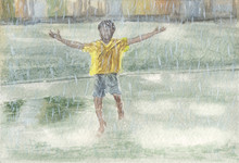 Watercolor Painting - Boy In The Rain