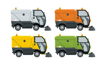 Road Sweeper Dust Cleaner Road Sweeper. Special Purpose Vehicle For Washing Road. Icon Isolated On White