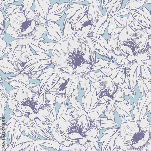 Fotografia Seamless pattern with anemone flowers. Vector illustration