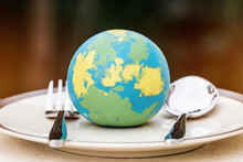 Globe Model Placed On Plate Wi...