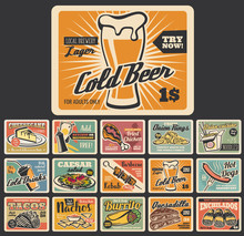 Retro Fast Food Dessert And Snack Signboards