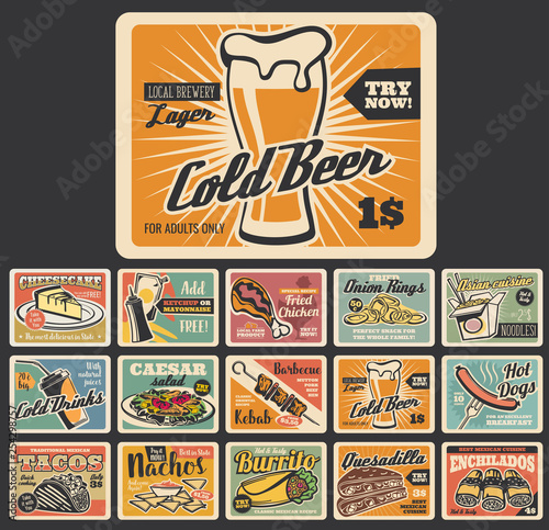 Plakaty retro  retro-fast-food-dessert-and-snack-signboards