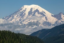 View Of The Snow-capped Volcanic Cone Of Mount Rainier, Washington, USA, North America