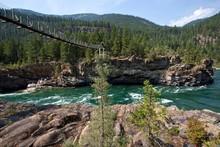 Suspension Bridge Over The Kootenay River Near Libby, Montana Province, USA, North America