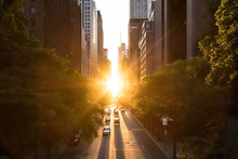 Sunlight Shines On The Buildings And Cars Along 42nd Street Through Midtown Manhattan Around The Manhattanhenge Sunset In New York City