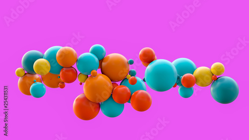Fotografie, Obraz  Flying spheres isolated on pink background