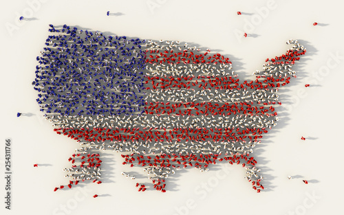 Fotografia  Large group of people forming USA or The United States of America flag map in social media and community concept on white background