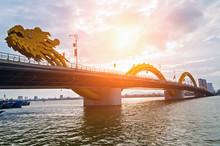 Dragon Bridge In Da Nang Han River In Vietnam.
