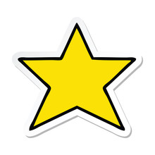 Sticker Of A Cute Cartoon Gold Star