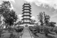 Black AndWhite Of The Chinese Gardens Pagoda Is One Of The Most Recognizable Icons In Singapore. Built In A Public Park In Jurong, The 7-storey Structure Has 185 Steps To Reach The Top.