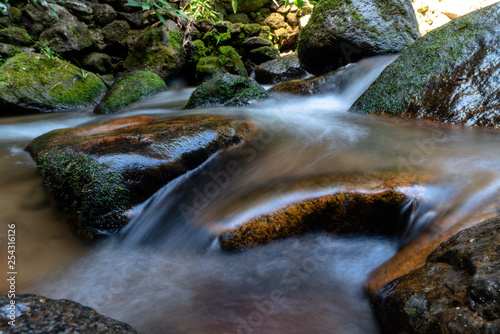 Foto auf Gartenposter Forest river Long exposure shot of clear water flowing through big rocks in the stream next to the green forest. (2)