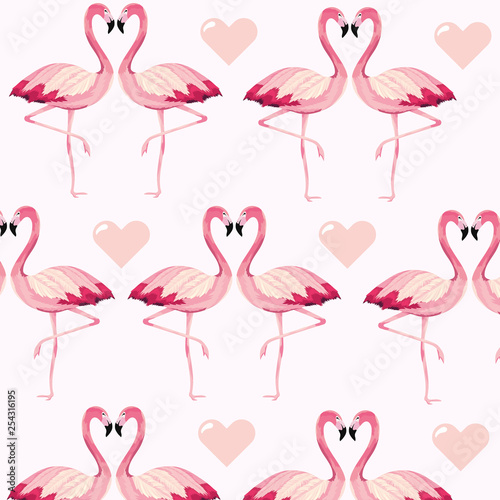 Ingelijste posters Flamingo vogel tropical flamingos animal and heart background
