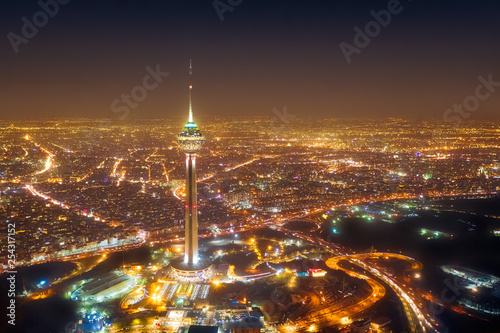Milad Tower at night in Tehran, Iran, taken in January 2019 taken in hdr