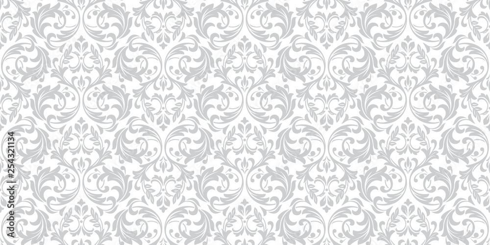 Fototapety, obrazy: Floral pattern. Vintage wallpaper in the Baroque style. Seamless vector background. White and grey ornament for fabric, wallpaper, packaging. Ornate Damask flower ornament.