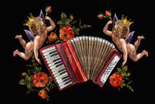 Embroidery Two Angels, Accordion And Roses Flowers. Chanson Concept. Music Art. Template For Clothes, T-shirt Design