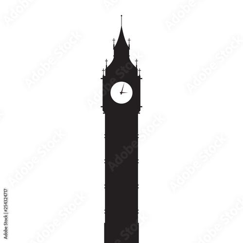 Big Ben vector silhouette Canvas Print