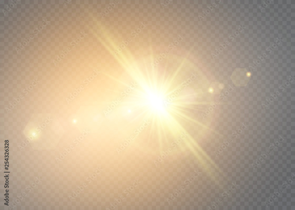 Fototapety, obrazy: Vector transparent sunlight special lens flash light effect.front sun lens flash. Vector blur in the light of radiance. Element of decor.