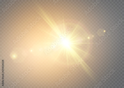 Fototapeta Vector transparent sunlight special lens flash light effect.front sun lens flash. Vector blur in the light of radiance. Element of decor. obraz