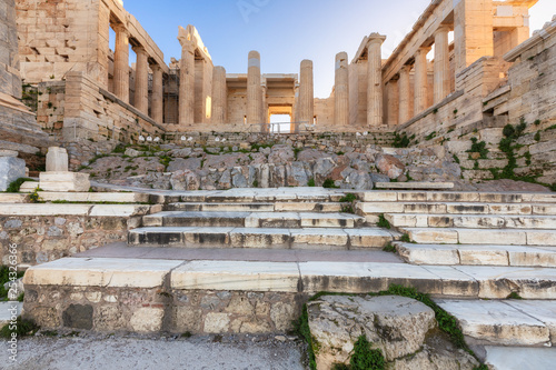 Stairs in front of the Athenian Acropolis Propylaea serves as the entrance to th Canvas Print