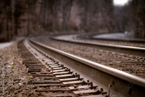 Fotografie, Obraz  railway tracks in fog