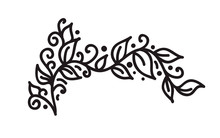 Black Monoline Flourish Vintage Monogram Vector With Leaves And Flowers. Corners And Dividers For Valentines Day, Wedding, Birthday Greeting Card, Book, Web Design