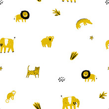 Safari Animals Seamless Pattern With Cute Elephants, Lion And Tropical Plants. Vector Texture In Childish Style Great For Fabric And Textile, Wallpapers, Backgrounds. Pastel Colors.