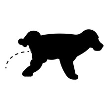 Pissing Dog Puppy Pissing Pet Pissing With Raised Leg Icon Black Color Vector Illustration Flat Style Image