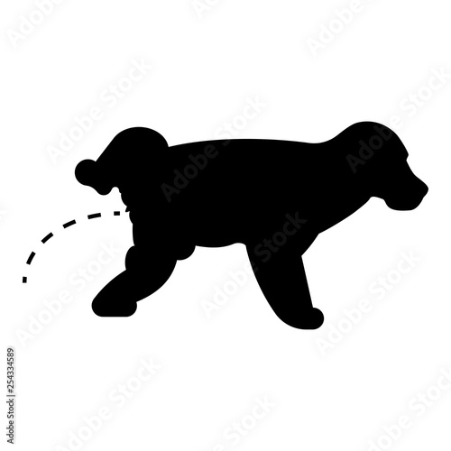 Pissing dog Puppy pissing Pet pissing with raised leg icon black color vector il Canvas Print