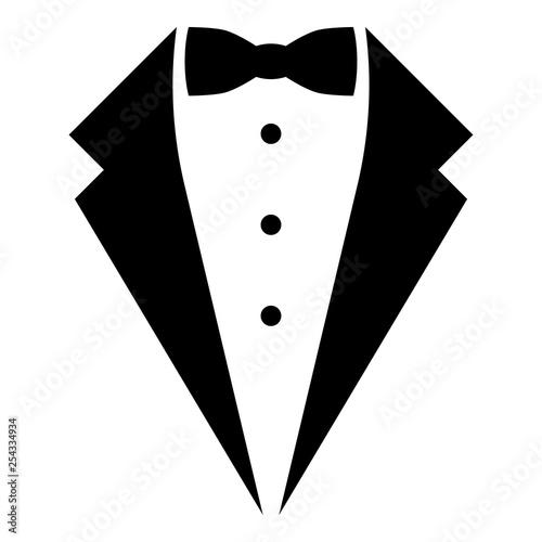 Fotografie, Obraz Symbol service dinner jacket bow Tuxedo concept Tux sign Butler gentleman idea W