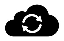 Cloud Sync Or Cloud Refresh With Arrows Flat Vector Icon For Apps And Websites
