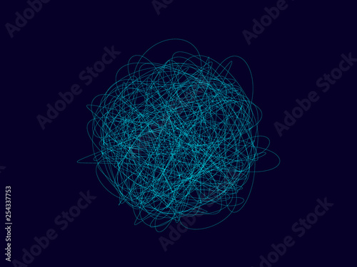 Fotografie, Obraz  Tangled circle clew. Vector outline illustration.