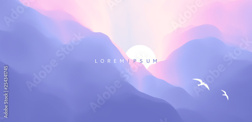 Obraz Sky with clouds and sun. Beautiful sunrise with flying seagulls. Landscape with mountains. Abstract background. Vector Illustration. - fototapety do salonu