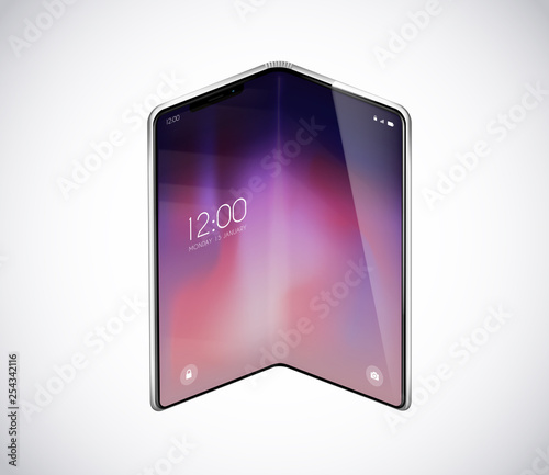 Fotografie, Obraz  New foldable smartphone concept, prototype with advertisment background