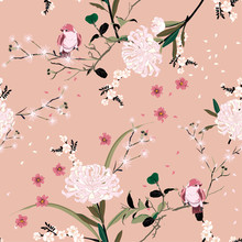 Sweet Mood Of Oriental Garden Flower With Blooming Botanical And Cherry Bloosom Florals Seamless Pattern Vector Design For Fashion ,fabric,wallpaper, And All Prints