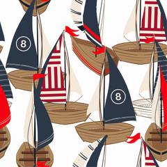 Fototapeta Do pokoju chłopca Beautiful hand drawn boat on the ocean seamless pattern in vector design for fashion,fabric,web,wallpaper,and prints