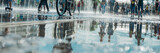 Fototapeta Do przedpokoju - Reflection of the crowd of merry people in the city fountain, in the pool. Bright sunny spring or summer day.