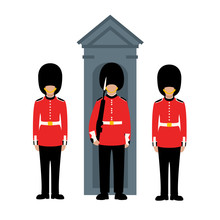 Queen's Guard, Vector Illustration, Flat Style
