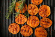 Tasty grilled sweet potato on pan