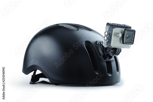 Fotografia  Bicycle helmet with front action camera isolated on background