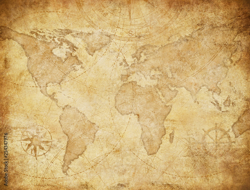 Poster Algerije Vintage style world map illustration based on image furnished by NASA