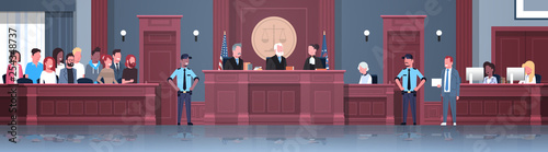 Fototapeta law process with judge jury suspect and police officers lawyer or attorney givin