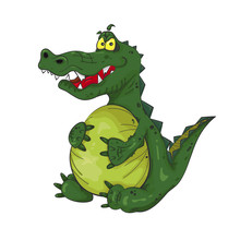 Angry Fat Satiated Crocodile.  Cartoon Severe Alligator With Huge Belly