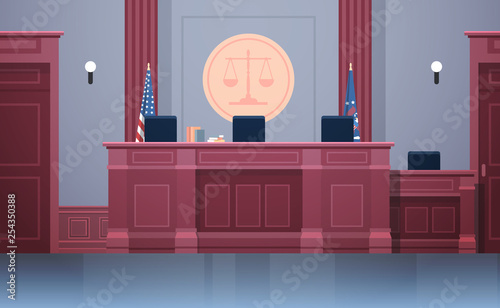 Fotomural empty courtroom with judge workplace chairs and table modern courthouse interior