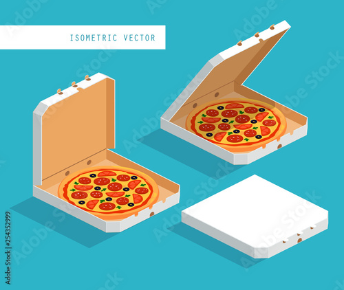 Isometric image of white boxes with pizza: closed, open, ajar Wallpaper Mural