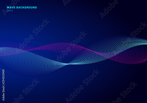Fotobehang Fractal waves Abstract network design with particle blue and pink wave. Dynamic particles sound wave flowing on glowing dots dark background.
