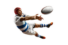 The Silhouette Of One Caucasian Rugby Male Player Isolated On White Background. Studio Shot Of Fit Man In Motion Or Movement With Ball. Jump And Action Concept. An Incredible Strain Of All Forces