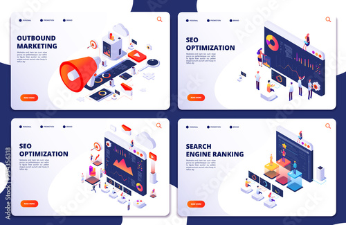 Fotomural Search engine rank, seo optimization vector isometric landing pages
