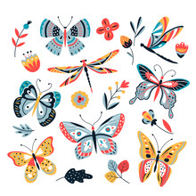 Butterfly On Flowers. Insect Dragonflies Butterflies Moth And Flower Hand Drawn, Sketch Vector Isolated Set. Butterfly And Dragonfly Illustration