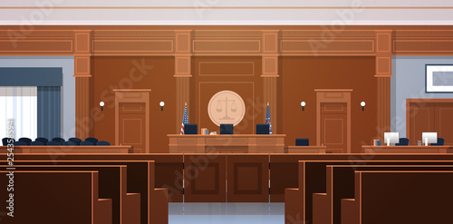 Fotografía empty courtroom with judge and secretary workplace jury box seats modern courtho
