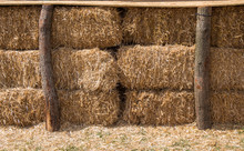 Hay Bales Stacks Outdoors